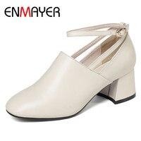 ENMAYER/туфли лодочки с ремешком на щиколотке, женские туфли из натуральной кожи с круглым носком, офисные женские туфли на высоком каблуке с пр