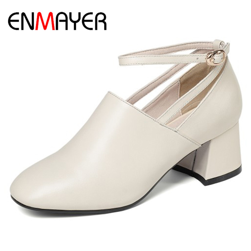 ENMAYER Ankle Strap Pumps Shoes Woman Round Toe Genuine Leather Shoes Buckle Strap High Heels Office Ladies Shoe Plus Size 34-41 цена