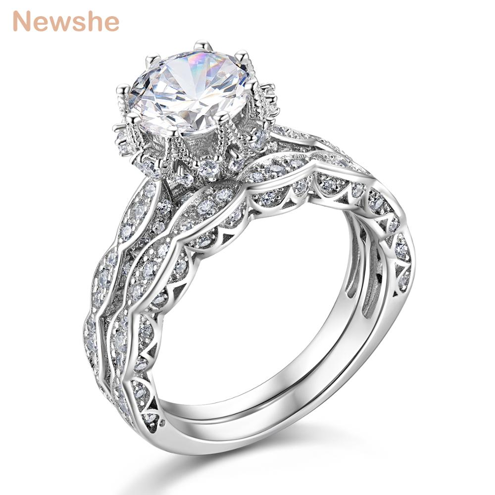 4c5892ef0033ee Newshe Wedding Ring Set Genuine 925 Sterling Silver Engagement Rings For  Women 1.8 Ct Round Cut AAA CZ Vintage Jewelry JR4891