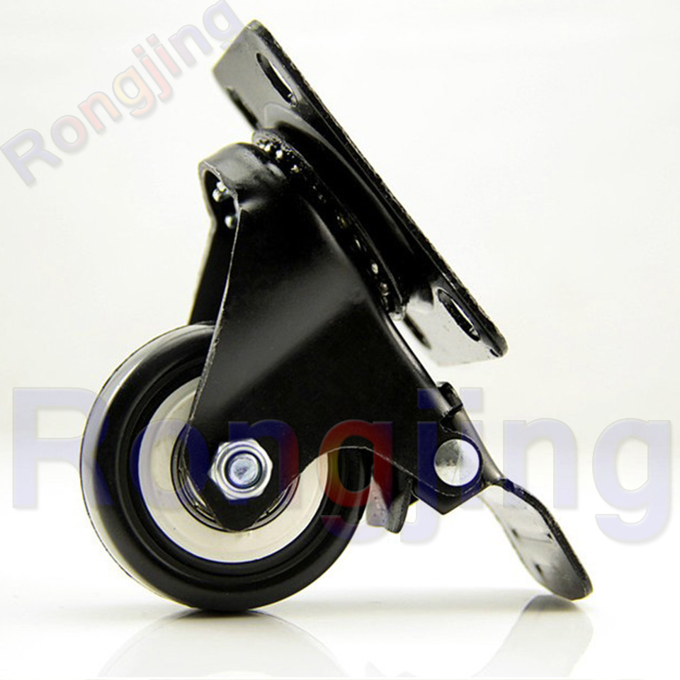 New 1.5'' Double Bearing with Brake Furniture Caster Durable PU Univesal Wheel Rolling Swivel Castor Sofa Casters
