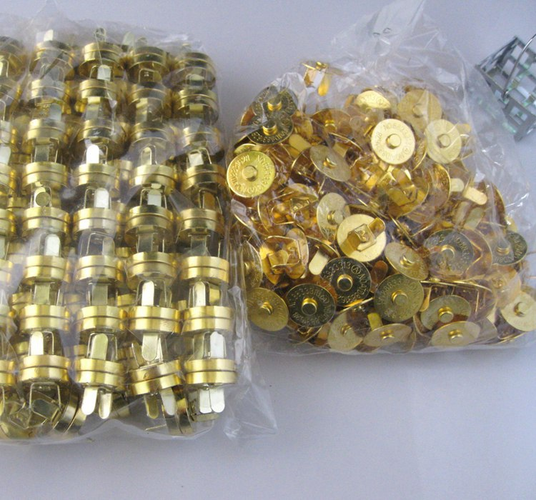20 Sets lot Gold Plated Magnetic Snaps button 14mm Bag Purse Clasp Metal Buttons Fastener Sewing Craft Scrapbook in Buttons from Home Garden