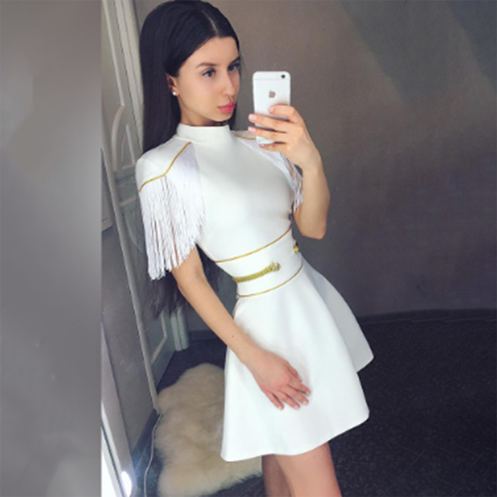 red white black short sleeve tassel sexy o neck 2019 new fashion hl bodycon celebrities club party bandage dress-in Dresses from Women's Clothing    1