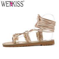 WETKISS 2018 Summer Gladiator Flat With Sandals Women Cross Tie Flip Flops Shoes Fashion Ladies Lace Up Footwear Gold Black Bead