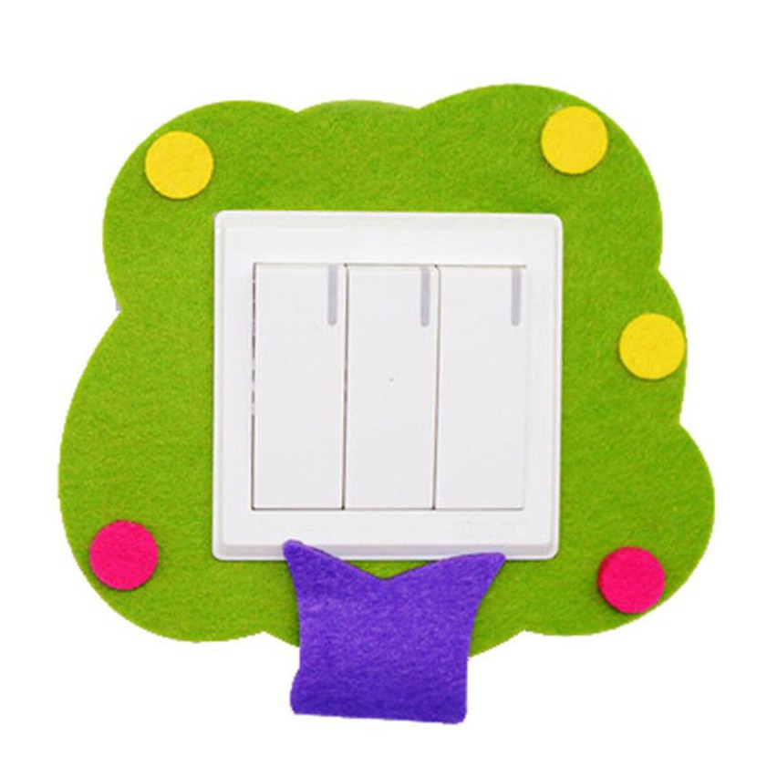 Wallpaper Sticker Stencil Wall designs Felt Not Hurt Wall Free Sticky Green Tree Switch Stickers Wallpapers For Living Room B#