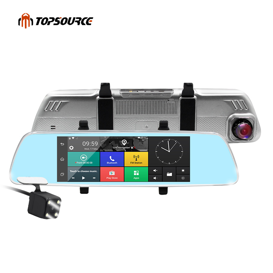 TOPSOURCE 7 inch 3G Car DVR Mirror Gps  Dual Camera LENS GPS CAR CAMER Android  Quad-core Full HD 1080P GPS Navigation 16GB/1GB hot 7 inch android 4 0 quad core car gps navigation with dvr recorder 1080p 8g media player fm transmitter support wifi igo map