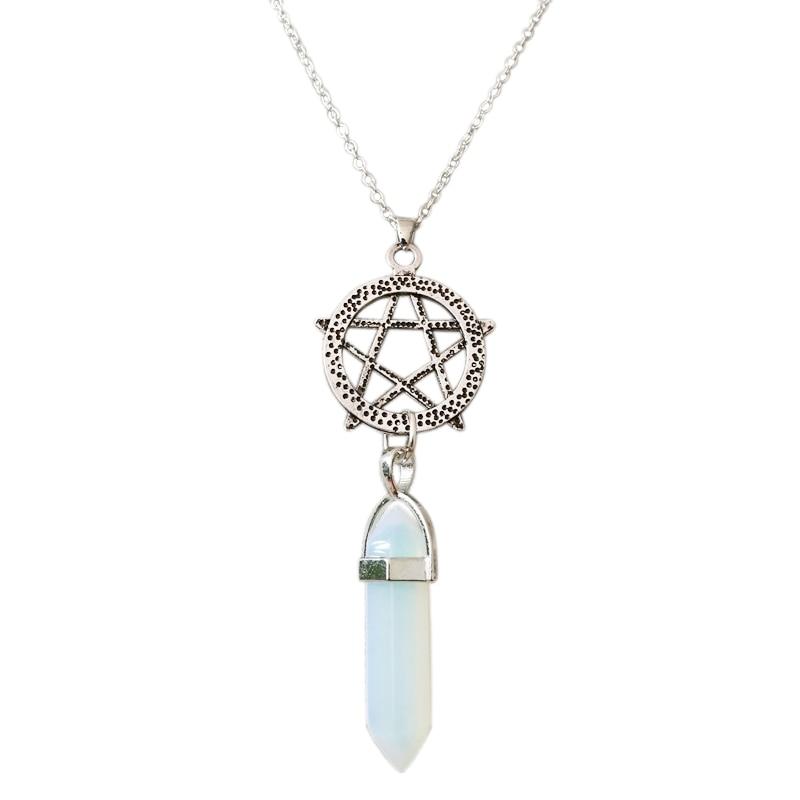 Vintage sølv hexagram krystall anheng halskjede sjarm stein kjede søyle kule Star of David halskjeder smykker for kvinner gave
