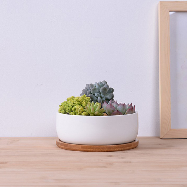 Hot Sale White Round Ceramic Deep Flower Pot With Bamboo Tray Diy