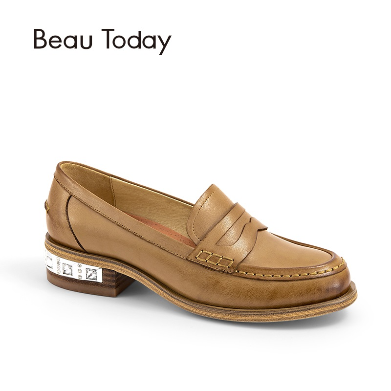 BeauToday Crystal Loafers Women Genuine Leather Shoes Round Toe Slip-On Casual Shoes Sheepskin Leather Flats Handmade 27038 beautoday genuine leather crystal loafer shoes women round toe slip on casual shoes sheepskin leather flats 27038
