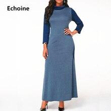 Women Long Sleeve Elegant Vintage Maxi Dress with Pocket Warm Patchwork Party Vestidos Female Robe