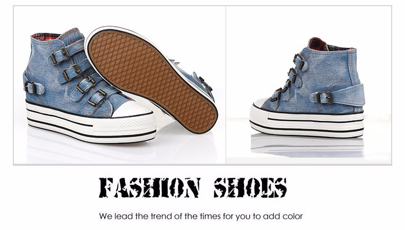 High Top Women Denim Shoes Espadrilles 2016 Fashion Autumn Hide Wedges Canvas Womens Shoes Lace Up Casual Shoes Sapatilha YD135 (22)