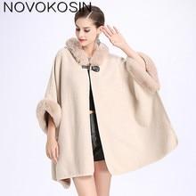 2018 Winter Warm Plus Size Fashion Two Used Poncho Faux Cashmere Shawl Women Imitation Rabbit Fur Cardigan Coat With Hat