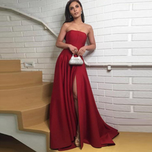 Formal Dress Women Elegant Evening Dress 2019 Strapless Satin Dark Red Prom Party Dresses with Side Slit Evening Gown