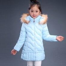 2018 Winter Children s Clothing Kids Down Cotton Outerwear Girls Wadded Jacket Child medium long Thickening