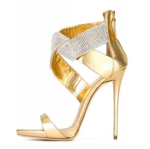 Sexy Crystal Cross Strap High Heel Sandals Women Cut-out Peep Toe Back Zipper Dress Shoes Thin Heels Sandals 2018 Free Ship cut out knot back floral print dress