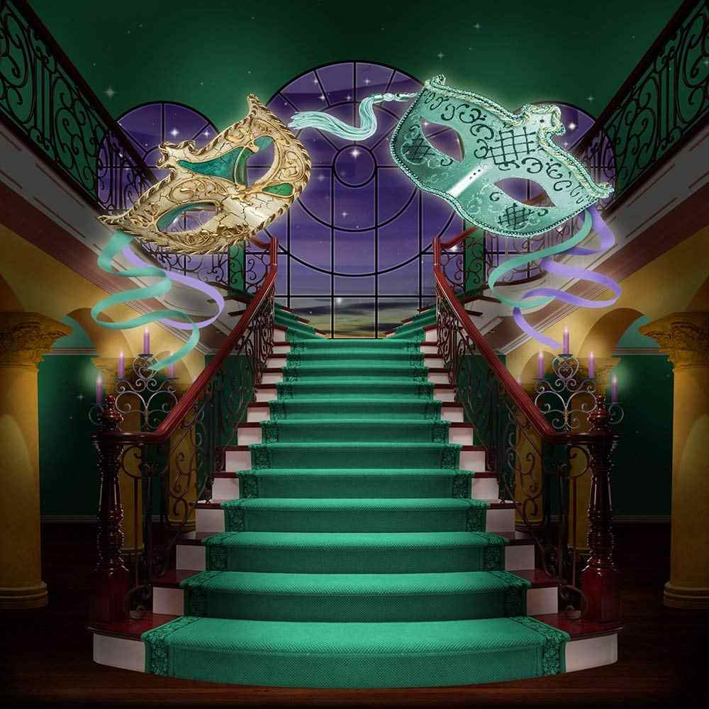 mardi gras staircase Masquerade Mask Palace photography backgrounds High quality Computer print party backdrop