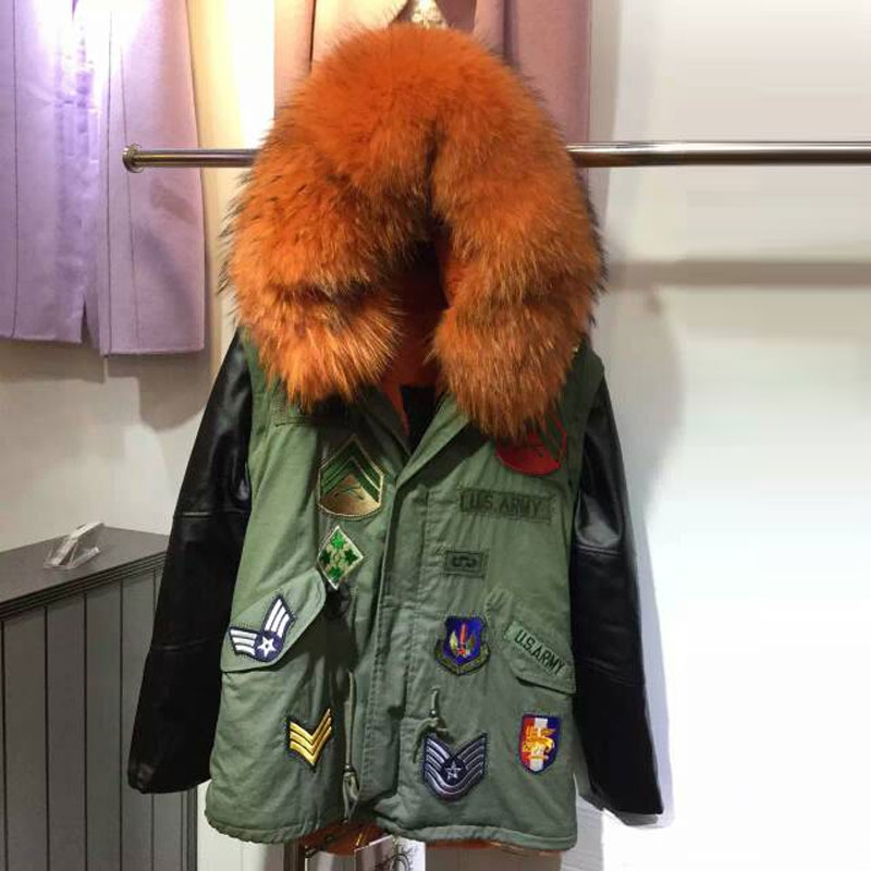 2015 Winter Leather sleeve Army green Parkas women Orange raccoon fur collar Badge parka