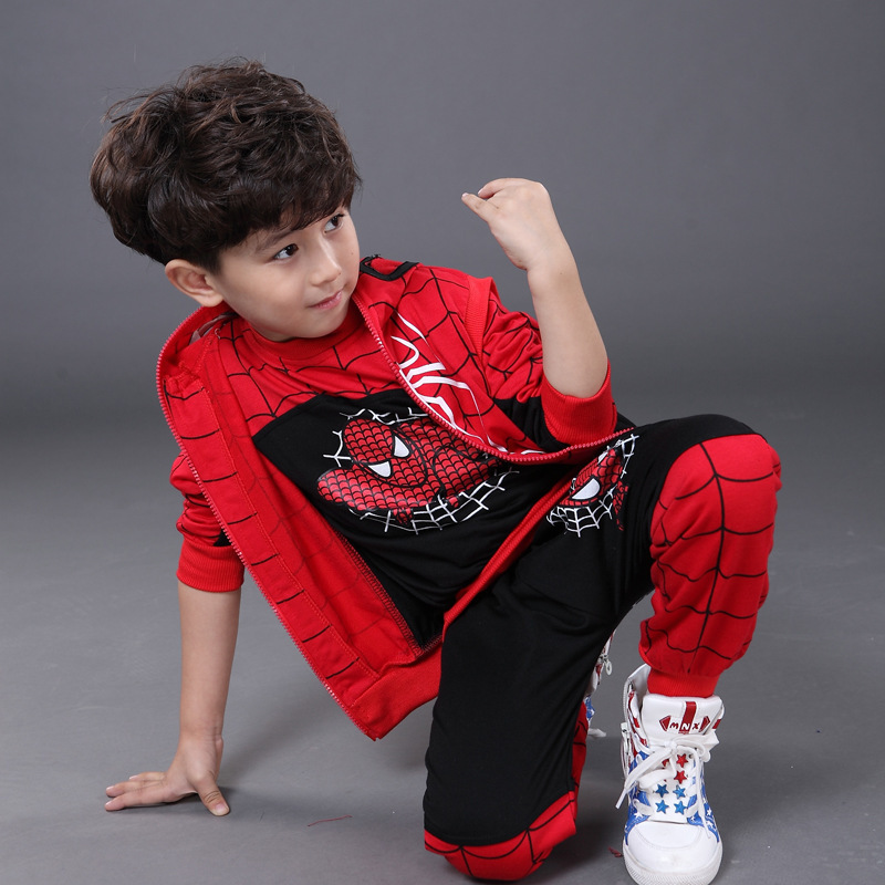 3 4 5 6 7 8 9 10 11 Years Boy Clothing Set Spider Man Costume For Kids Long Sleeve T Shirt + Hooded Vest + Pant 3pcs Sport Suit