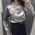 Fashion Women's Ring Metal Hollow Out Velvet Shirt Blouse Choker Femme Autumn Wear O-neck Elegant Blouses