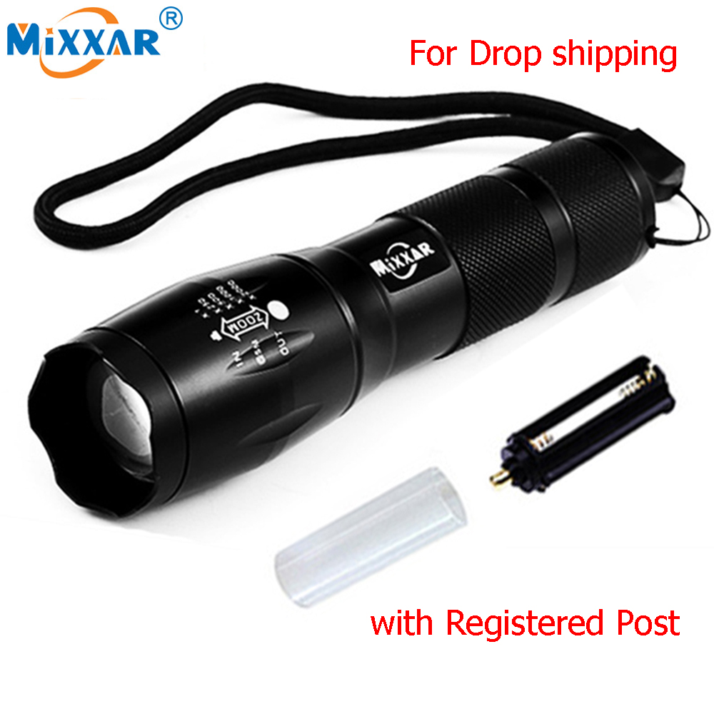 9000LM LED Flashlights Powerful Waterproof LED Lamp Torch For 18650 Battery Military Police Flashlight Torch Light ...