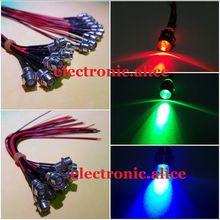 20pcs 5mm 12V colorful pre-wired LED Metal Indicator Pilot Dash Light Lamp Wire Leads(China)