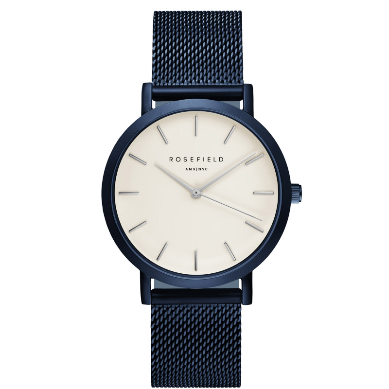 Ladies Ultra-Thin Watch - blue mesh link strap