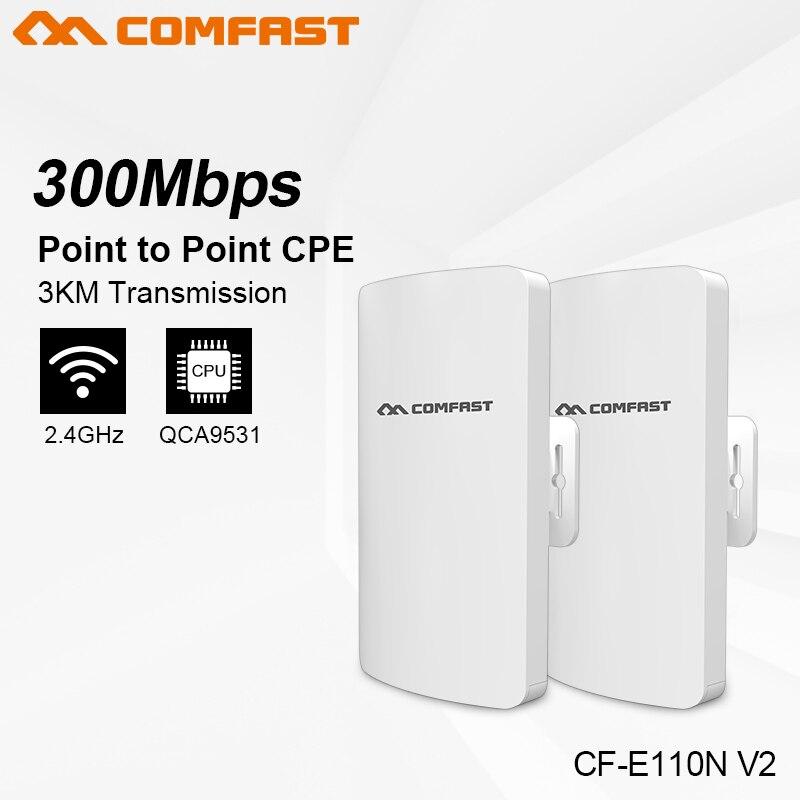 COMFAST CF-E110N 300 mbps 1-2 km MINI sans fil bridgeQCA9531 extérieure CPE wifi routeur répéteur pour caméra Projet gamme amplificateur