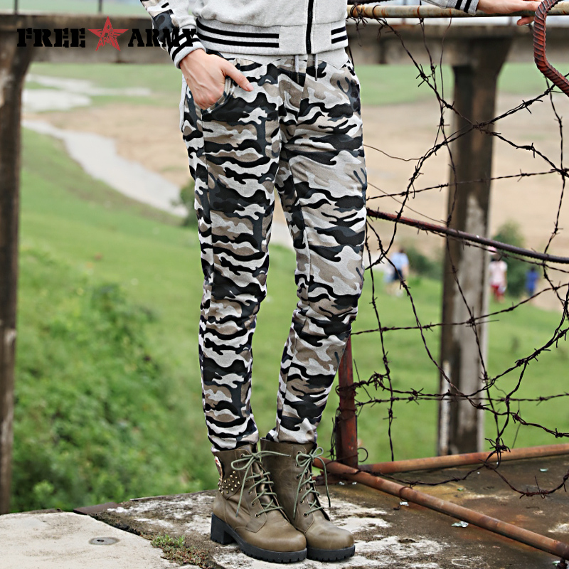 New Arrival Womens Spandex Pants Autumn Elastic Waist Pencil Pants Cotton Camouflage Harem Pants Womens Pants & Capris Gk-9536F