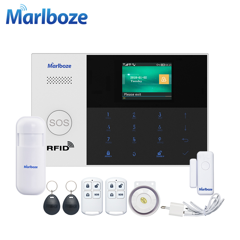 Marlboze WIFI GSM GPRS Alarm system APP Remote Control RFID card Arm Disarm with color screen