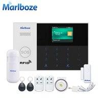 Marlboze wifi GSM GPRS Сигнализация приложение дистанционное управление RFID карта снятие с охраны с цветным экраном кнопка SOS языки переключаемые