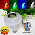 E27 12 W Lâmpada RGB Inteligente Sem Fio Bluetooth Cantar Música Tocando falante Lâmpada LED Luz com 24 Teclas de Controle Remoto livre grátis
