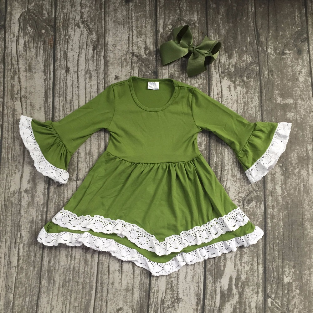 Fall/winter baby gilrs children clothes cotton lace ruffle long sleeve dress Mustard green boutique outfits match clip hairbow 2017 new fall mustard yellow children sets ruffle butterfly sleeves infants clothing baby girl nursing accessory apparel