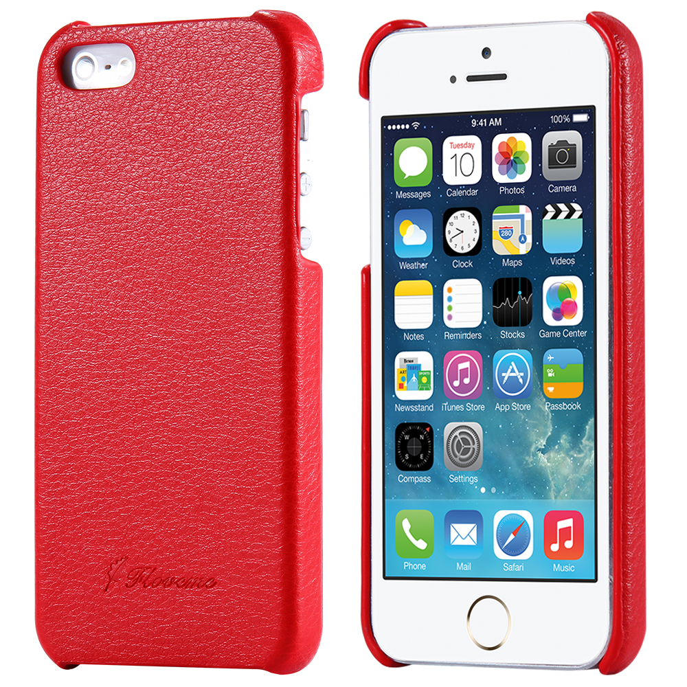 Vintage Cowhide Litchi Grain Imprint Genuine Leather Cover For Apple Iphone  5 5S SE 4S Hard Back Coque Fundas