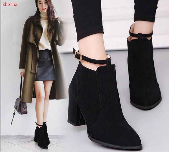 a4fb383183c6 New Women Boots High Heels Ankle Boots Fashion winter Autumn Chunky Heel  Ladies Short Boots Shoes