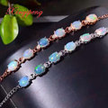 925 sterling silver with 100% natural opal bracelet  women with Luxury and generous A wedding gift