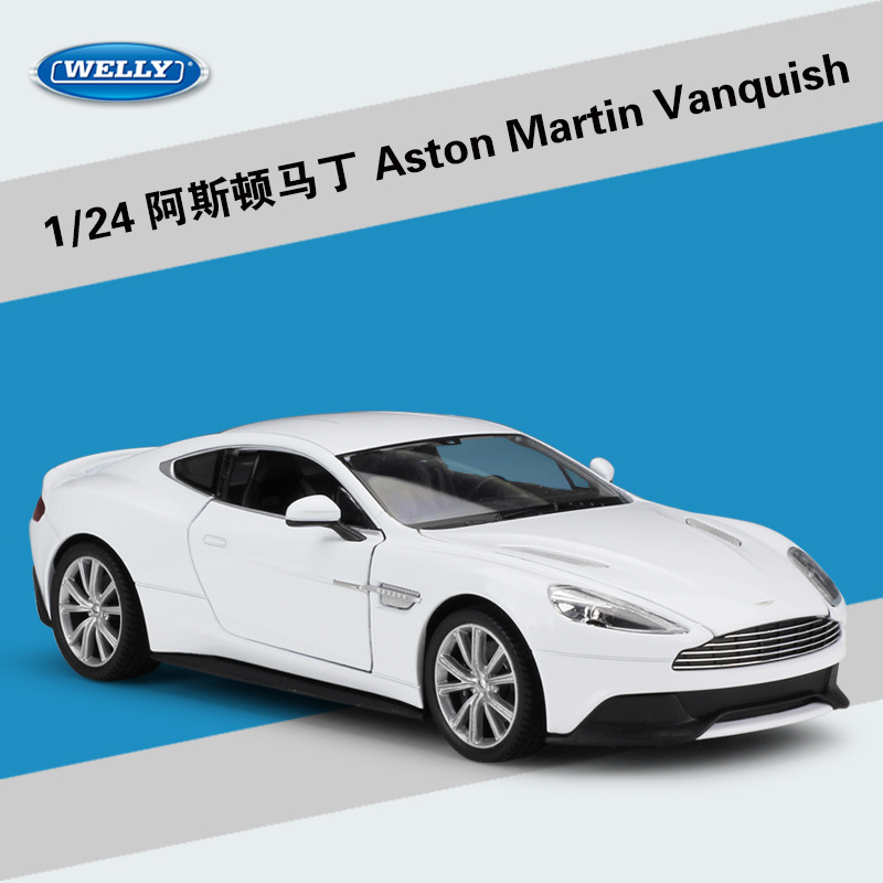 Welly Diecast 1:24 Scale Simulator Aston Martin Vanquish Model Car Alloy Sports Car Metal Toy Car For Children Gift Collection