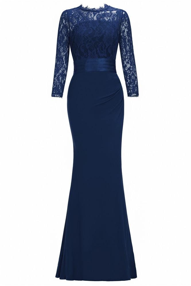 Элегантное длинное вечернее платье русалки с круглым вырезом и рукавом три четверти, вечернее платье, robe de soiree