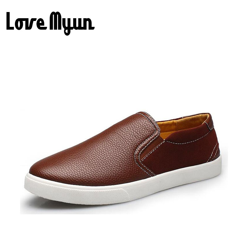 Fashion soft comfortable slip on mens Loafers men's casual Flats shoes Leather breathable Driving Shoes big size 38-47 AA-39