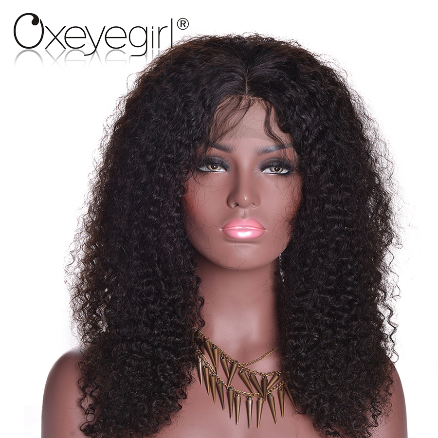 Oxeye girl Lace Front Human Hair Wigs For Black Women Brazilian kinky Curly Wig Can Custom