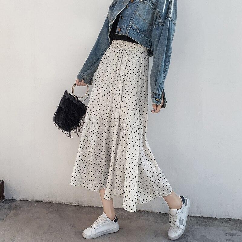 2019 Summer Vintage High Waist Skirt Dot Print Skirts Womens Punk Rock  Style Boho Streetwear Jupe Femme