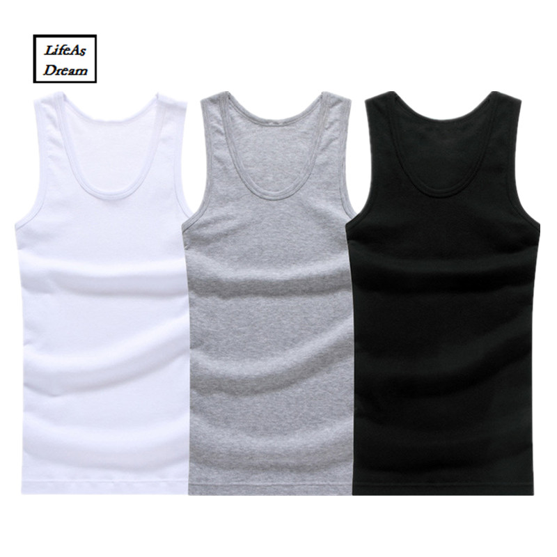 Hot Sale 3pcs/lot Cotton Mens Sleeveless Tank Top Solid Muscle Vest Undershirts O-neck Gymclothing T-shirts Whorl Tops