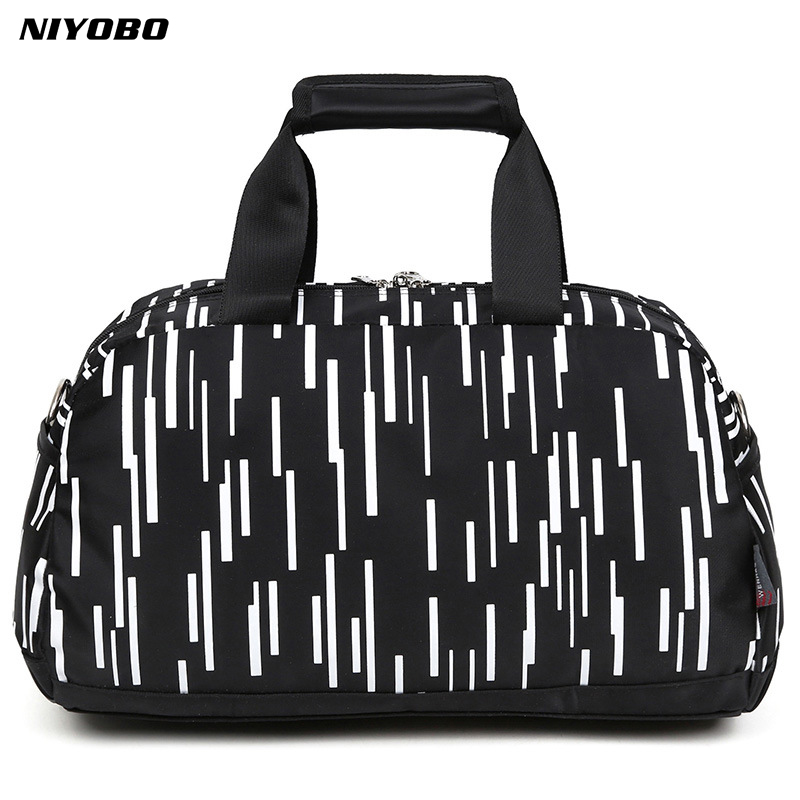 NIYOBO Large Capacity Nylon Waterproof Travel Bag Totes Striped Unisex ladies Luggage Duffel Handbag Weekend Bags Bolsa Viagem