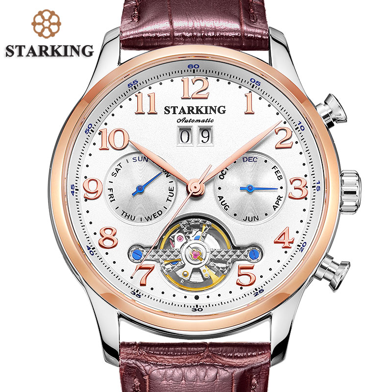 STARKING Mens Watches Automatic Mechanical Watch Tourbillon Leather Casual Business Wristwatch Relojes Hombre Top Brand Luxury mens watches top brand luxury 2017 aviator white automatic mechanical date day leather wrist watch business reloj hombre