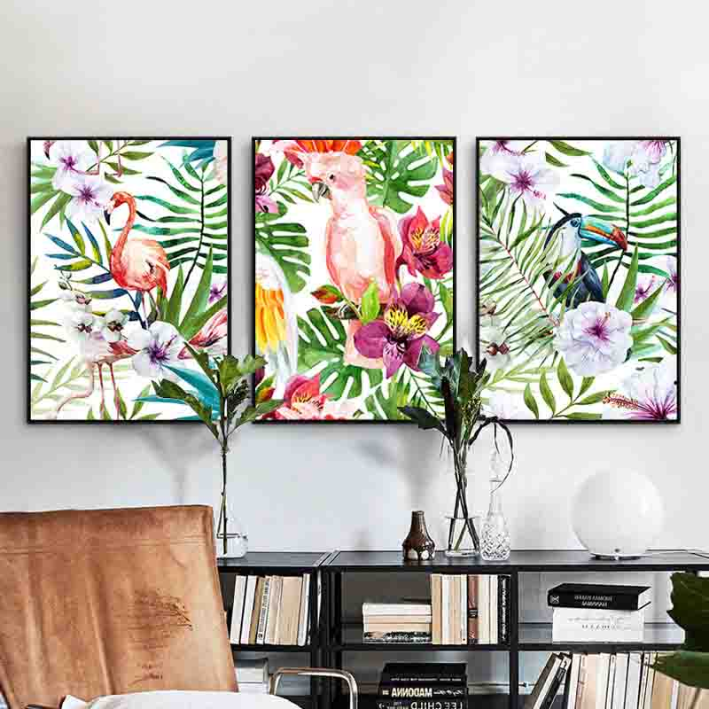 Enthusiastic Tropical Plants Ins style Modern Foil a Lively Atmosphere Beauty Art Picture Canvas Posters for Home Decoration