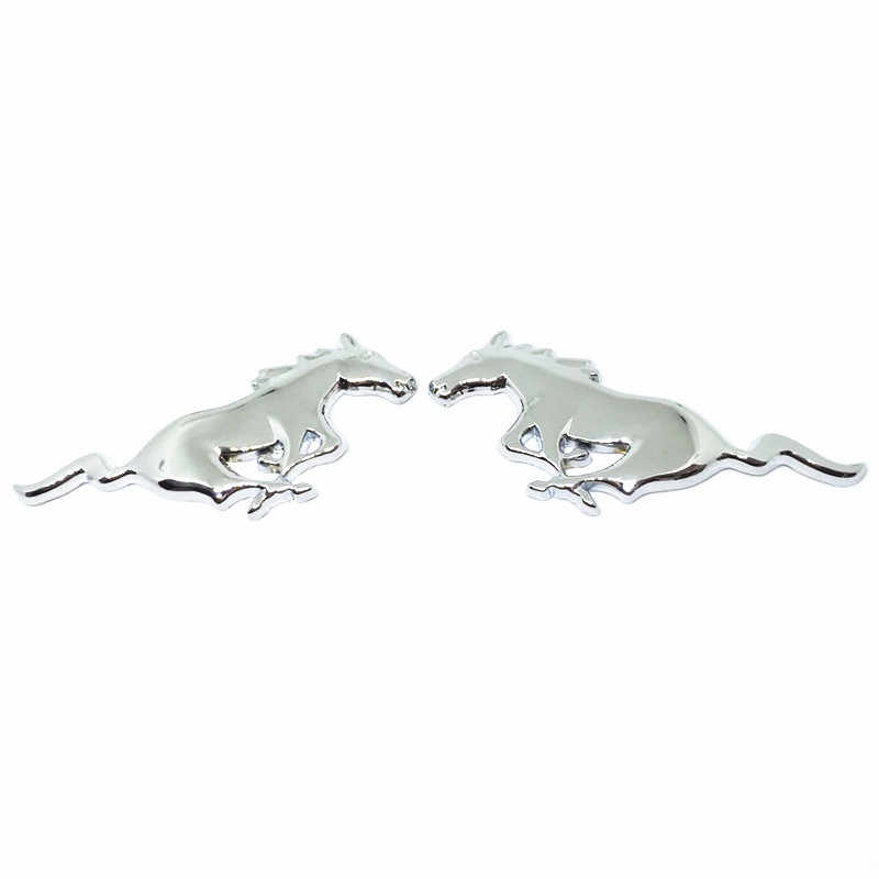1 زوج معدن الكروم الفضة الذهب الأسود سيارة التصميم تشغيل الحصان شعار شارة ملصق سيارة لفورد موستانج شيلبي GT مونديو mk4