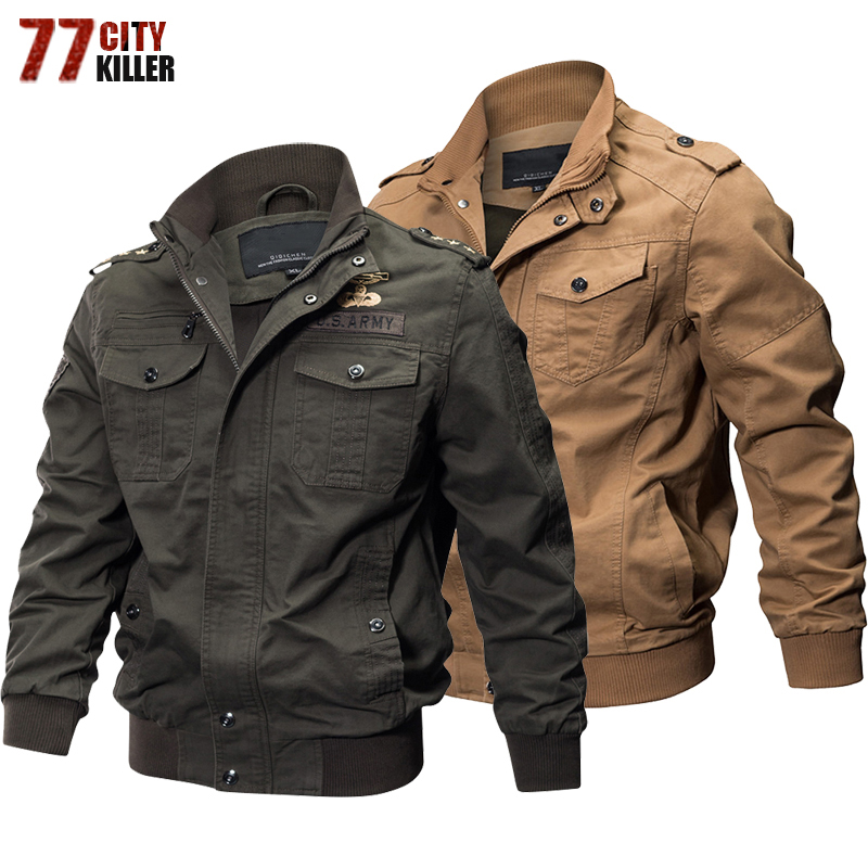 77City Killer Autumn Winter Military Tactical Jacket Men Plus Size 5XL 6XL Cotton Bomber Jackets Cargo Flight Jacket Outwear