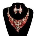 Estilo de la india Joyería Nupcial de La Boda de color Rojo Collar Y Aretes de Joyería de Moda Novias Accesorios de Las Mujeres presentes