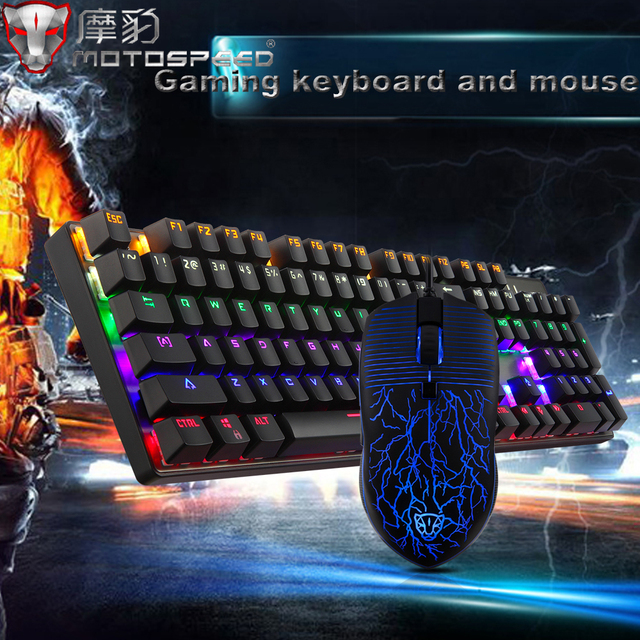 MOTOSPEED USB Wired Esport Mechanical Gaming Keyboard LED Backlit Blue Switches 26-Key Rollover and Mouse for Pro Gamer Dota LOL