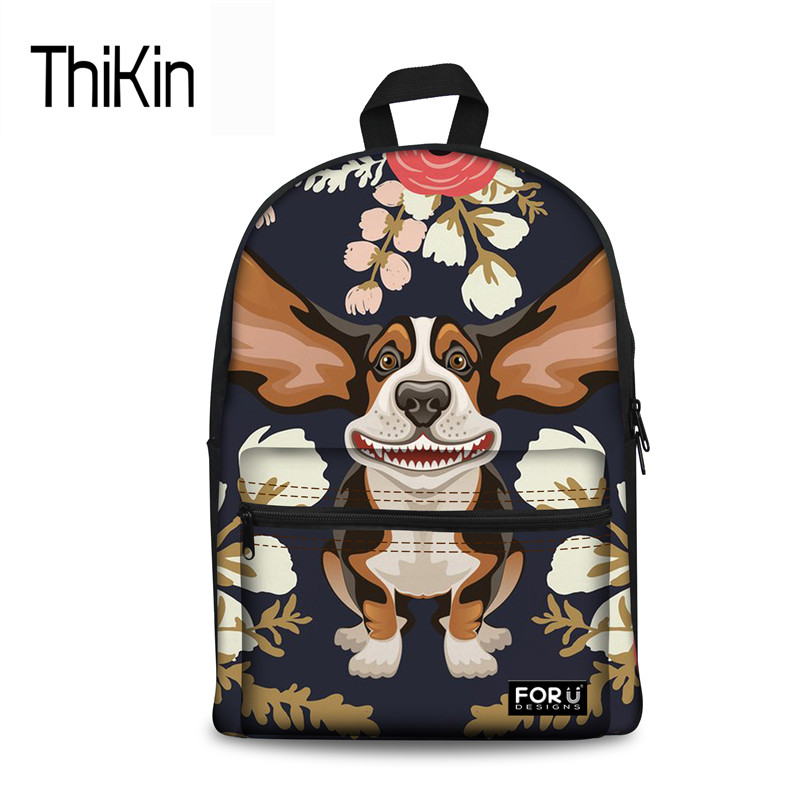 THIKIN Women Canvas Backpack Tourist Floral Hound Pack Back For Children Girls Brand Designer School Backpacks Sac A Dos Femme