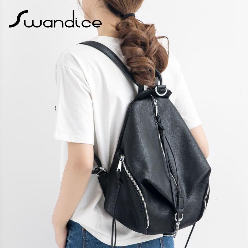 High Quality Micro Fiber Leather Tassel Zipper Buckle Backpacks Fashion Casual Knapsack School Bag Pack 2019