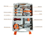 10pcs/kit home use hand tools set,pvc tape,knife,screwdriver,induction pen,torch,L wrench pliers, measurement tape